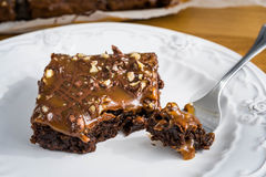 Brownies With Nuts And Salted Caramel. Stock Photos