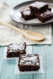 Brownies With a Wood Spoon Stock Photo