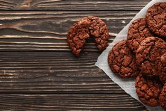 Brownies on wooden background royalty free stock photo