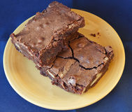Brownies on Yellow plate Stock Image