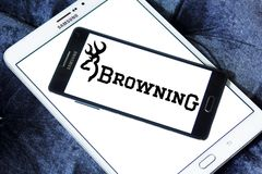 Browning Arms Company logo. Logo of Browning Arms Company on samsung mobile. Browning is an American maker of firearms and fishing gear royalty free stock photography