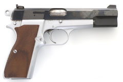 Browning hi-power 9mm pistol. Unloaded Browning hi-power 9mm pistol royalty free stock image