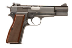 Browning Hi-Power Pistol. A Belgian-made 9mm semi-automatic military pistol Royalty Free Stock Photo