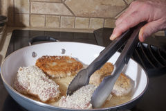 Browning Pork Chops Stock Photography
