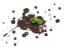 Brownish chocolate splash isolated on a white with mint leaves stock photos