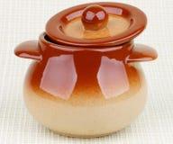 Brownish Stoneware Pot Royalty Free Stock Images