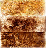 Brownish Texture Banners. Vintage Grungy Abstract Background Set Stock Photo