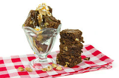 Brownie sundae with walnuts Stock Photography