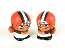 Cleveland Browns Li`l Teammates Toy Figures. Browns Li`lToy figures on a white backdrop Stock Images