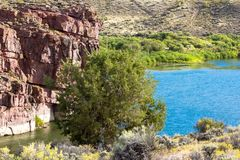 The Green River flows through Browns Park NWR in Colorado. The Green River looks blue at this scenic spot beside a tall bluff in Browns Park National Wildlife royalty free stock photography