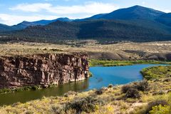 The Green River flows through Browns Park NWR in Colorado royalty free stock photography