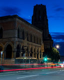 Browns with WIlls Memorial Building by night. ENGLAND, BRISTOL - 13 SEP 2015: Clifton, Browns with WIlls Memorial Building by night, motion-blur car lights Royalty Free Stock Photos