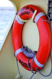 Brownsea, Dorset, England - June 02 2018: Lifebelt or lifebuoy o. N board the Brownsea Island Ferry `Maid of the Islands stock photo
