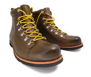 Brownshoes with yellow laces Stock Images