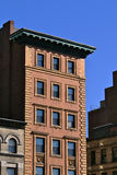 Brownstone. Old building in boston against a deep blue sky with deep shadows Stock Images