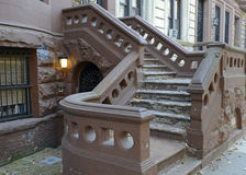 Brownstone apartment building facade, New York Royalty Free Stock Images