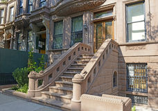 Brownstone apartment building facade, New York Royalty Free Stock Photos