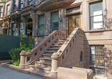 Brownstone apartment building facade, New York Royalty Free Stock Photos