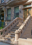 Brownstone apartment building facade, New York Stock Photo
