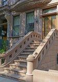 Brownstone apartment building facade, New York Stock Photo