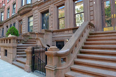 Brownstone apartment building facade, New York Royalty Free Stock Image