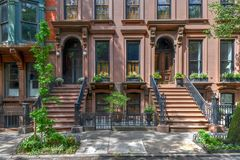 Brownstone - Brooklyn Heights, Brooklyn. Brownstone building in Brooklyn Heights, Brooklyn, New York City royalty free stock photo
