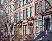 Brownstone buildings in the Upper West Side New York City. Block of Brownstone buildings in the Upper West Side neighborhood of Manhattan in New York City stock photography