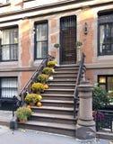 Brownstone di New York City in autunno immagine stock libera da diritti