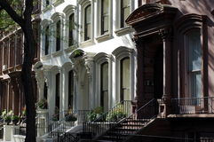 Brownstone homes, Brooklyn Heights, New York City. A row of brownstone homes in the old landmark neighborhood of Brooklyn Heights in New York City Royalty Free Stock Photo