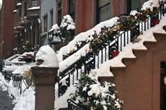 Brownstone stairs Royalty Free Stock Photography