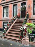 Brownstone or townhouse entrance stock images