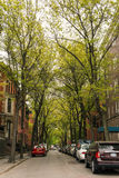 Brownstone townhouse residential street in Brooklyn Heights Stock Images
