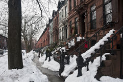 Brownstones in Brooklyn Royalty-vrije Stock Afbeeldingen