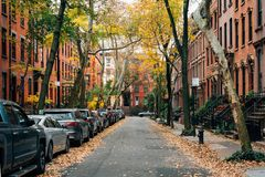 Brownstones and fall color in Brooklyn Heights, New York City stock photo