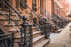 Brownstones in New York Royalty Free Stock Photo