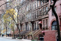 Brownstones on the Upper West Side. A row of brownstone buildings on Manhattan's Upper West Side in New York City stock photography