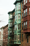 Brownstones van Boston Stock Afbeeldingen