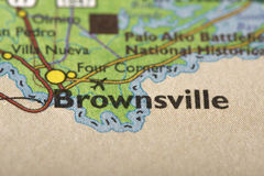 Brownsville, Tejas en mapa imagenes de archivo