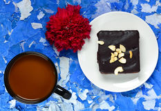 Browny cake and coffee. Royalty Free Stock Image