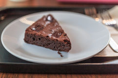 Browny cake sweety on white dish Royalty Free Stock Images