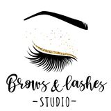 Brows and lashes gold logo. Vector illustration of lashes and brow. For beauty salon, lash extensions maker, brow master Stock Photography