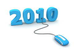 Browse the Blue New Year 2010 - Blue Mouse. Modern blue computer mouse connected to the blue date 2010 - welcome the new year Royalty Free Stock Image