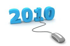 Browse the Blue New Year 2010 - Grey Mouse. Modern grey computer mouse connected to the blue date 2010 - welcome the new year Royalty Free Stock Images