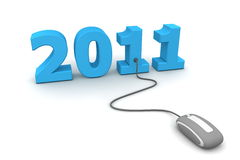Browse the Blue New Year 2011 - Grey Mouse. Modern grey computer mouse connected to the blue date 2011 - welcome the new year Stock Image