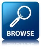 Browse blue square button Stock Photo