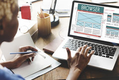 Browse Browser Connect Internet Layout Concept. Diverse business people using notebook browser screen stock image