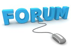 Browse the Forum - Grey Mouse. Modern grey computer mouse connected to the blue word Forum Royalty Free Stock Image