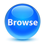 Browse glassy cyan blue round button Stock Images
