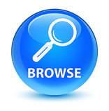 Browse glassy cyan blue round button Royalty Free Stock Photos