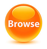 Browse glassy orange round button Stock Photos